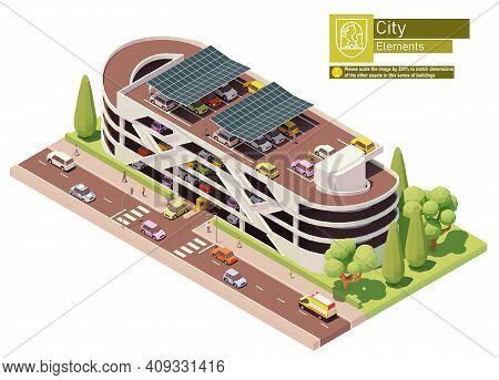 Vector Isometric Multistorey Car Park Building. Concrete Multilevel Car Parking Garage Building