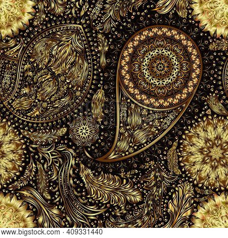 Vintage Floral Motif Ethnic Seamless Background. Abstract Lace Pattern. Gold Gradient Elements. Eps1