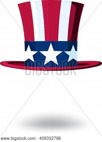 Uncle Sam's Hat In A Top Hat Stylized Under The Stars And Stripes Usa Flag