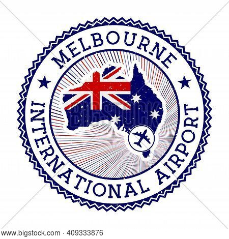 Melbourne International Airport Stamp. Airport Logo Vector Illustration. Melbourne Aeroport With Cou