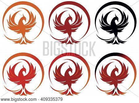 Six Colored Rounded Phoenix Logo On The White Background