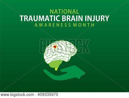 Vector Illustration Of Traumatic Brain Injury Awareness Month Concept Design.