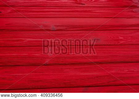 Close Up Of Red Painted Wooden Fence Panels. Wooden Red Plank Background