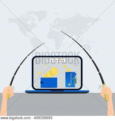 Data Phishing. Hacking And Fraud Internet Phishing Attack. Vector Illustration.