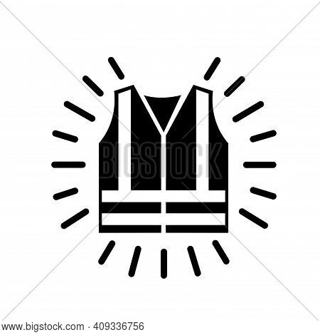 Wear High Visibility Clothing Black Icon, Vector Illustration, Isolate On White Background Label. Ep