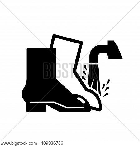 Foot Wash Must Be Used Point Black Icon, Vector Illustration, Isolate On White Background Label. Eps