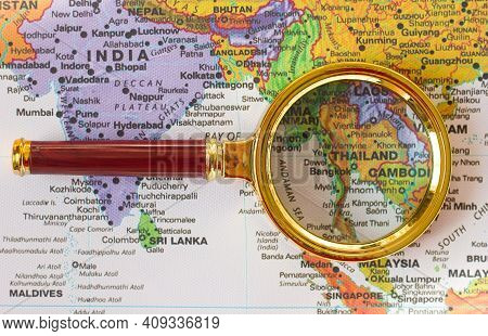 Lviv Ukraine-01 20 2021 : Thailand, Bangkok On A Map Of Asia  In A Defocused Magnifying Glass, The T