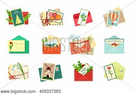 Greeting Envelopes With Postcards Set. Romantic Invitations And Holiday Bright Decorations White Dai