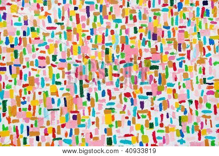 Colorful acrylic color brush strokes on white texture on canvas poster