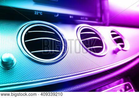 Black Luxury Modern Car Interior. Shift Lever And Dashboard. Detail Of Modern Car Interior. Automati