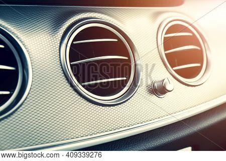 Ac Ventilation Deck In Luxury Modern Car Interior. Modern Car Black Leather Interior. Natural Wood P
