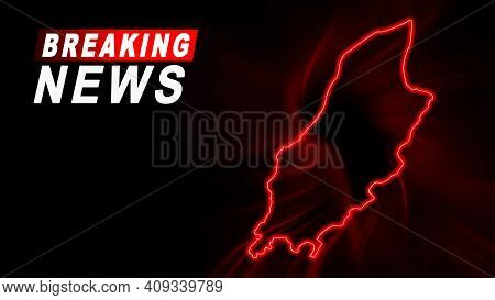 Breaking News Map Of Isle Of Man, Outline Red Glow Map, On Dark Background