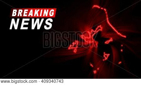Breaking News Map Of French Polynesia, Outline Red Glow Map, On Dark Background