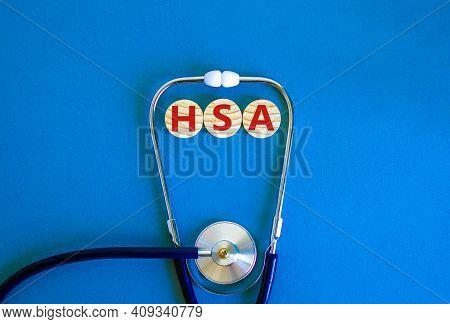Hsa, Health Savings Account Symbol. Wooden Circles With Words 'hsa, Health Savings Account'. Stethos