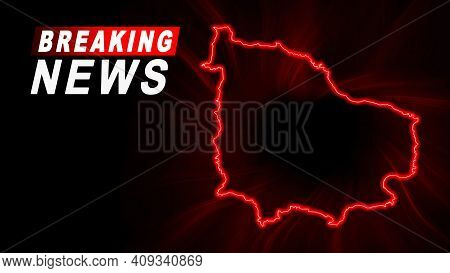 Breaking News Map Of Norfolk Island, Outline Red Glow Map, On Dark Background