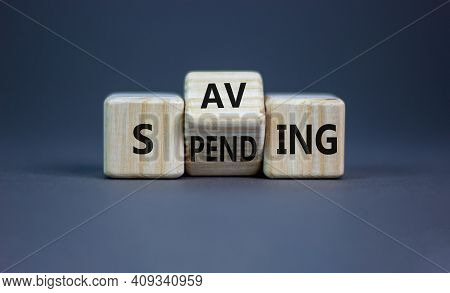 Saving Or Spending Symbol. Turned Cubes And Changed The Word 'spending' To 'saving'. Beautiful Grey