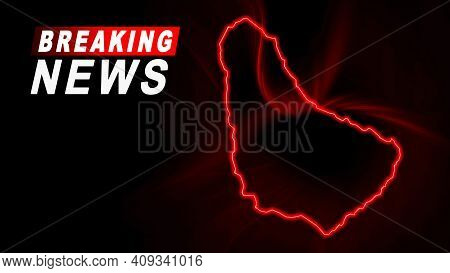 Breaking News Map Of Barbados, Outline Red Glow Map, On Dark Background