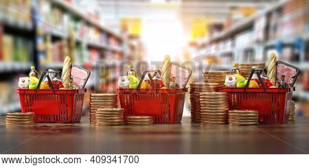 Growth of food sales or growth of market basket or consumer price index concept. Shopping basket with foods with coin stacks in grocery shop. 3d illustration