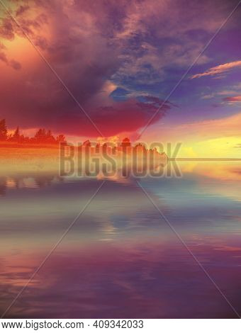 Beautiful Landscape Evening Summer River. Beautiful Sunset Clouds. The Fog Of The River. Dramatic Da