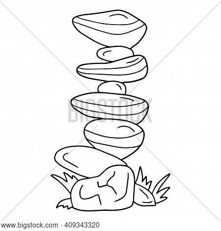 Cute Cartoon Doodle Large Stacked Stones Isolated On White Background.