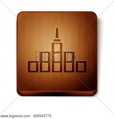 Brown City Landscape Icon Isolated On White Background. Metropolis Architecture Panoramic Landscape.