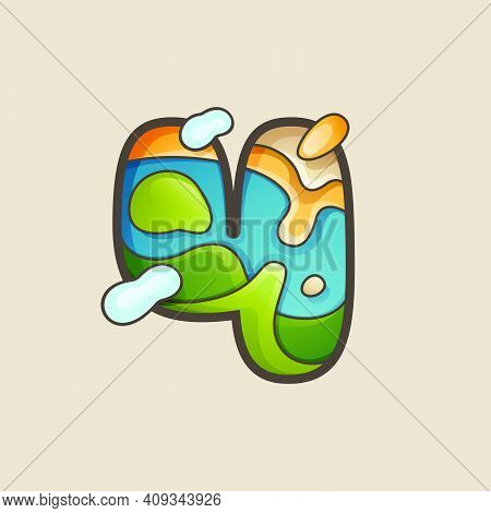Number Four Logo With Topographic Map Line Pattern. Outdoor Adventure Emblem With Mountain, Ocean, H