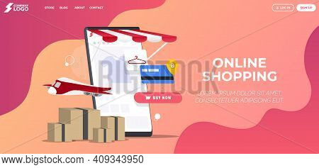 Online Shopping Store Landing Page Premium Vector