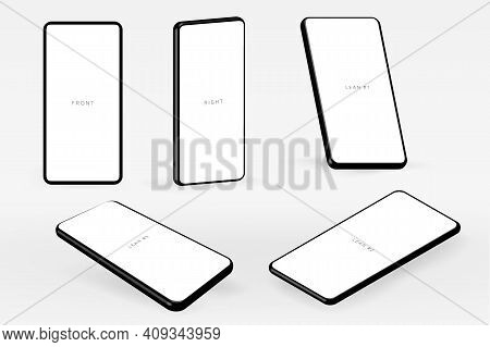 3d Realistic Isolated Mobile Screen Vector Template