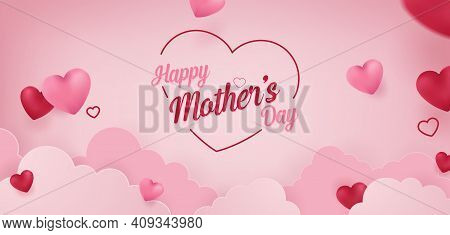 Happy Mother's Day Vector Banner Concept Background Illustration