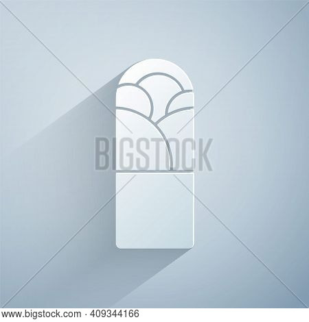 Paper Cut Doner Kebab Icon Isolated On Grey Background. Shawarma Sign. Street Fast Food Menu. Paper