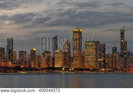 Chicago Cityscape River Side Along Lake Michigan At Beautiful Twilight Time, Illinois, United States