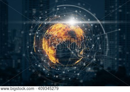 Particle Earth With Technology Network Circle Over The Photo Blurred Of Cityscape Background, Techno