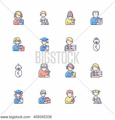 Different Age And Gender Groups Rgb Color Icons Set. Aging Process. Child Development. Adolescent Ye