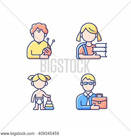 Aging Process Rgb Color Icons Set. Elderly Woman. Schoolgirl. Female Toddler. Middle-aged Man. Old P