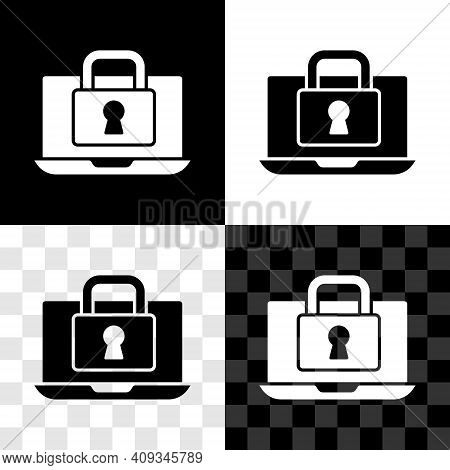Set Laptop And Lock Icon Isolated On Black And White, Transparent Background. Computer And Padlock.