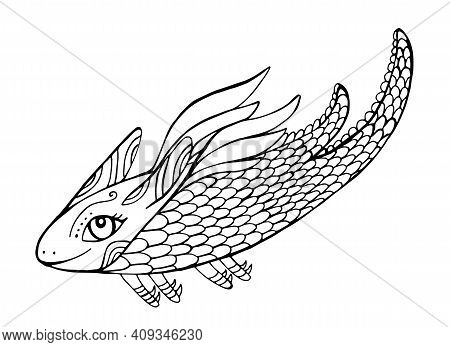 Mythical Funny Dragon Fantasy Coloring Page For Kids And Adults. Cute Cartoon Doodle Style Character