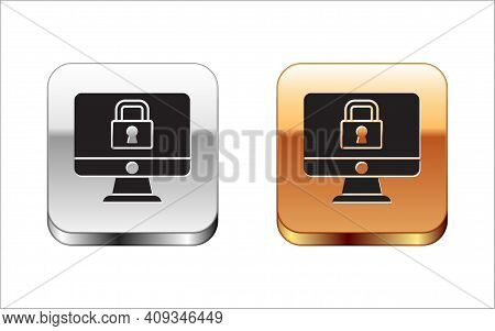 Black Lock On Computer Monitor Screen Icon Isolated On White Background. Security, Safety, Protectio