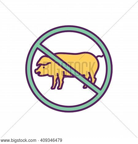 Giving Up Meat Rgb Color Icon. Balanced Diet. Reducing Overweight And Obesity Risks. Meat-free Diet.