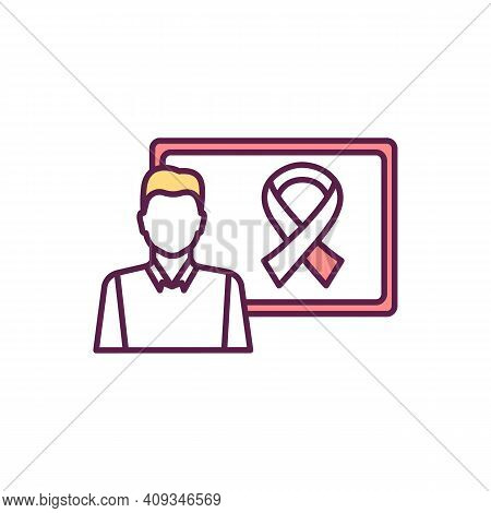 Cancer-related Ribbon Rgb Color Icon. Awareness Ribbon. Showing Support, Raising Consciousness. Regu