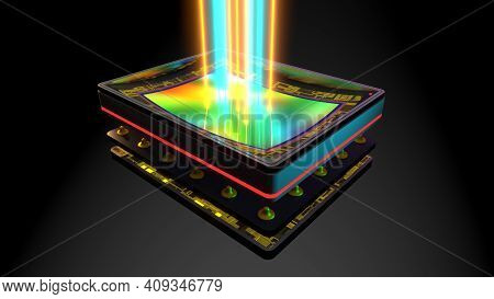 Curved Sensor For Digital Camera, Prototype 3d Rendering, Stacked: Matrix, Magnetic Bender, Memory,