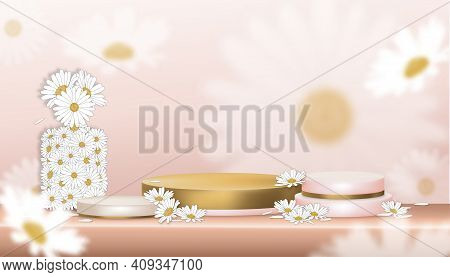 Vector 3d White Daisy With Empty Showcase Display Peach And Yellow Gold Stand,blooming Spring Flower