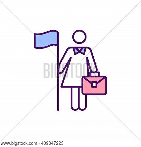 Boss Lady Rgb Color Icon. Woman In Leadership Position. Successful Entrepreneur Female Leader. Impro