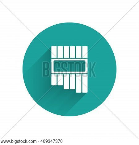 White Pan Flute Icon Isolated With Long Shadow. Traditional Peruvian Musical Instrument. Zampona. Fo