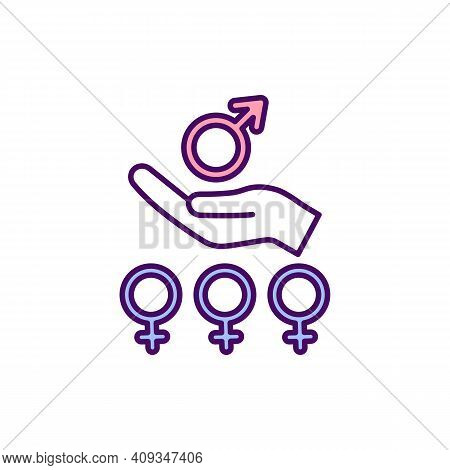 Women Empowerment Rgb Color Icon. Improving Female Social, Economic And Political Status. Rights And
