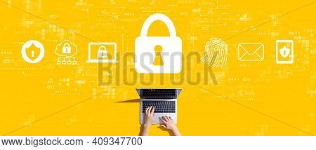 Internet Network Security Concept With Person Working With A Laptop