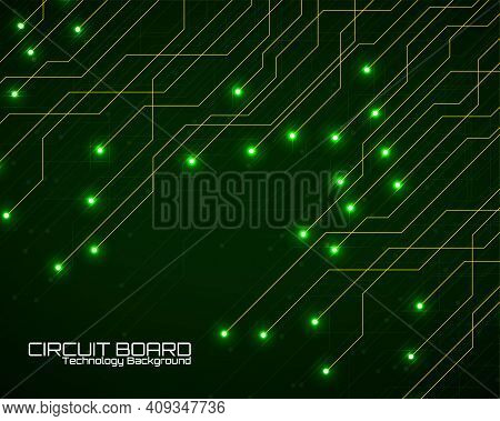 Abstract Background With Glowing Circuit Board, Neon Technology Design. Vector Illustration