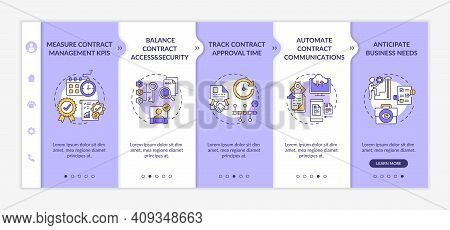 Efficient Contract Management Tips Onboarding Vector Template. Measure Contract Management Kpis. Res
