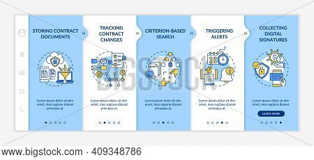 Contract Management Software Functions Onboarding Vector Template. Storing Contract Documents. Respo