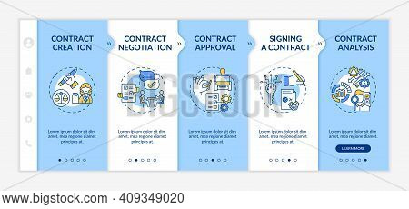Contract Lifecycle Steps Onboarding Vector Template. Contract Creation And Negotiation Processes. Re
