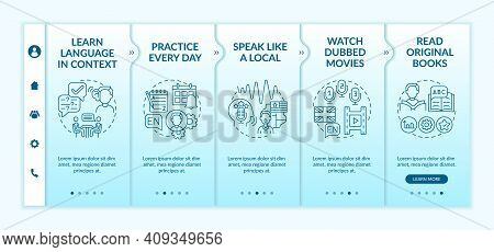 Foreign Learning Language Advices Onboarding Vector Template. Everyday Practice. Reading Original Bo